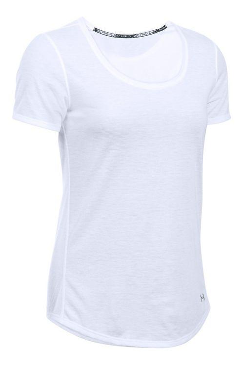 Womens Under Armour Threadborne Streaker Short Sleeve Technical Tops - White XL