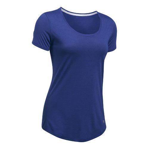 Womens Under Armour Threadborne Streaker Short Sleeve Technical Tops - Constellation Purple M