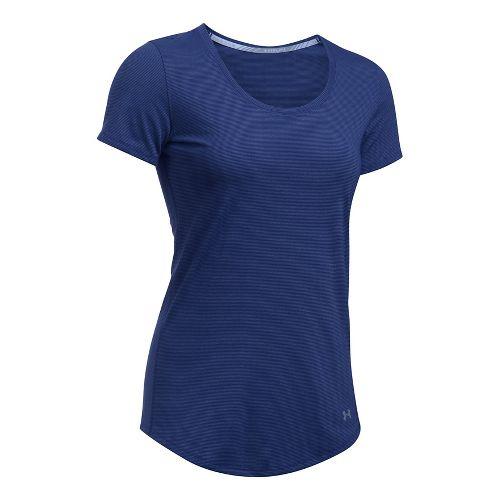 Womens Under Armour Threadborne Streaker Short Sleeve Technical Tops - Purple/Ice XL