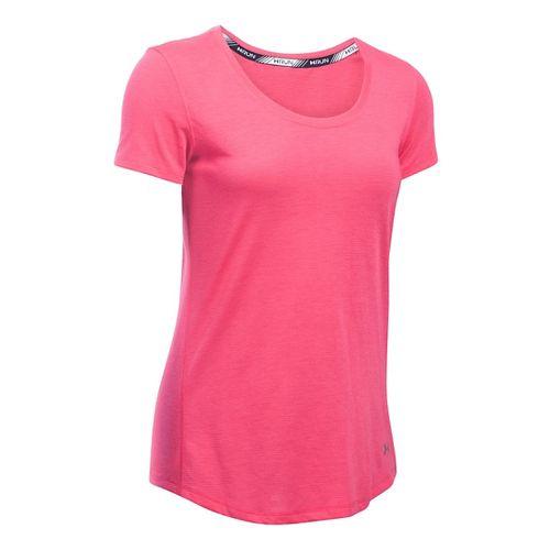 Womens Under Armour Threadborne Streaker Short Sleeve Technical Tops - Pink Sky XS