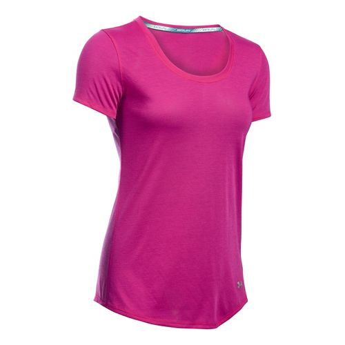 Womens Under Armour Streaker Short Sleeve Technical Tops - Magenta/Grey M