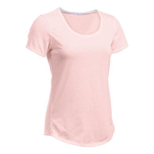 Womens Under Armour Threadborne Streaker Short Sleeve Technical Tops - Ballet Pink L