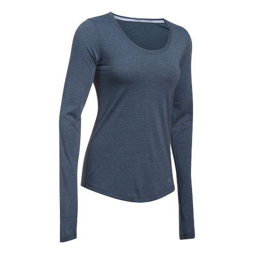 Womens Under Armour Streaker Long Sleeve Technical Tops - Charcoal Light Heather XL