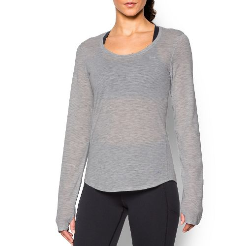 Womens Under Armour Streaker Long Sleeve Technical Tops - True Grey Heather L