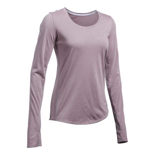Womens Under Armour Streaker Long Sleeve Technical Tops - Heather/Orange L