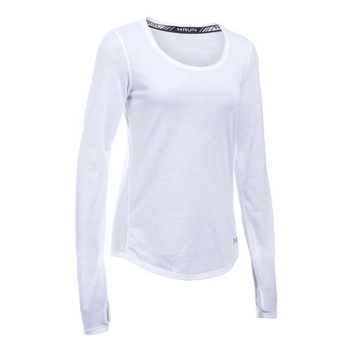 Womens Under Armour Streaker Long Sleeve Technical Tops - White/Reflective L
