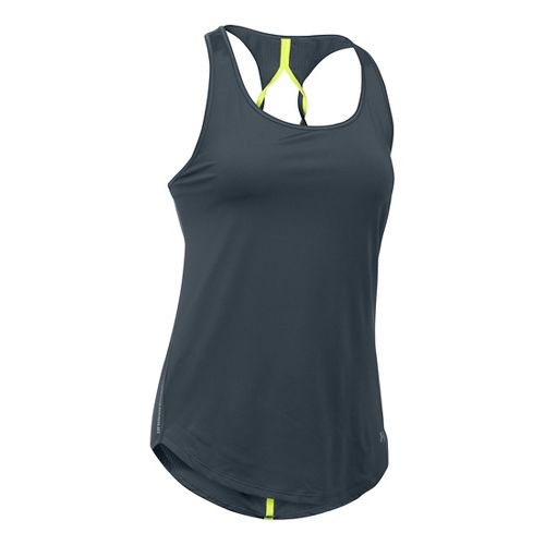 Womens Under Armour Fly By Run Sleeveless & Tank Technical Tops - Stealth Grey M ...