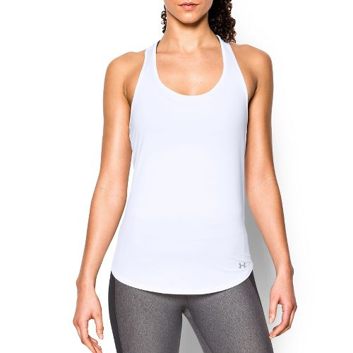 Womens Under Armour Fly By Run Sleeveless & Tank Technical Tops - White XS