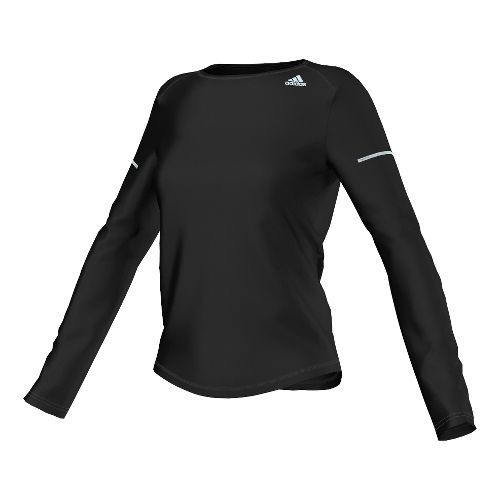 Womens adidas Sequencials Money Tee Long Sleeve No Zip Technical Tops - Black L