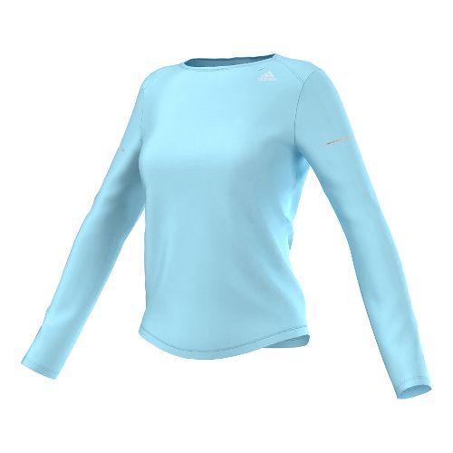 Womens adidas Sequencials Money Tee Long Sleeve No Zip Technical Tops - Frozen Blue M ...