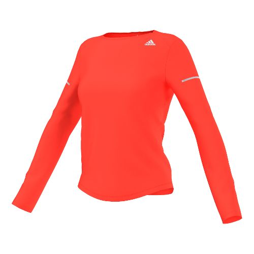 Womens adidas Sequencials Money Tee Long Sleeve No Zip Technical Tops - Solar Red L ...