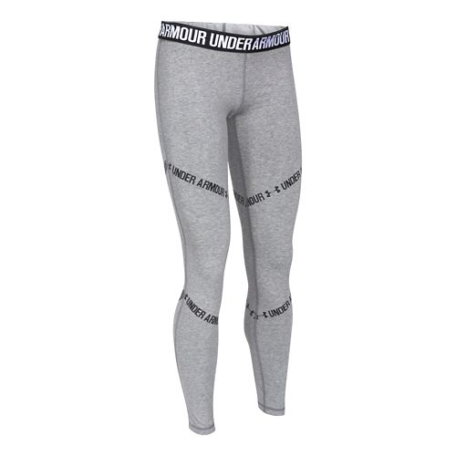 Womens Under Armour Favorite Legging-Angled Linear Full Length Tights - True Grey Heather XL