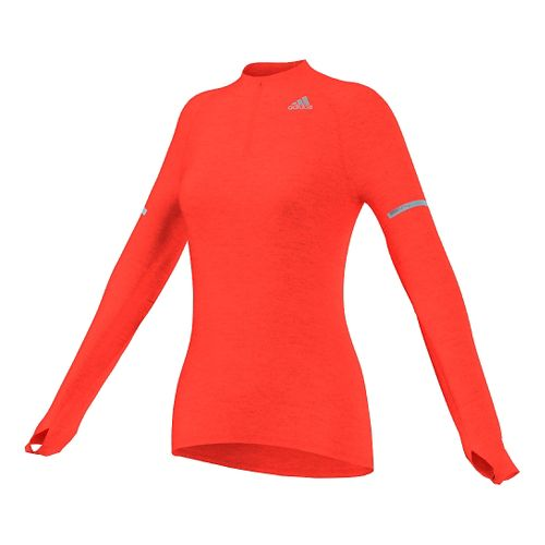 Womens adidas Sequencials Money Long Sleeve Half Zip Technical Tops - Solar Red L