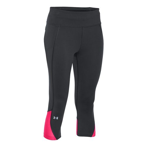 Womens Under Armour Fly by Run Capri Pants - Black/Harmony Red S