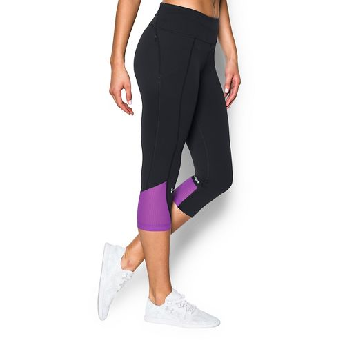 Womens Under Armour Fly by Run Capri Pants - Anthracite/Magenta XS