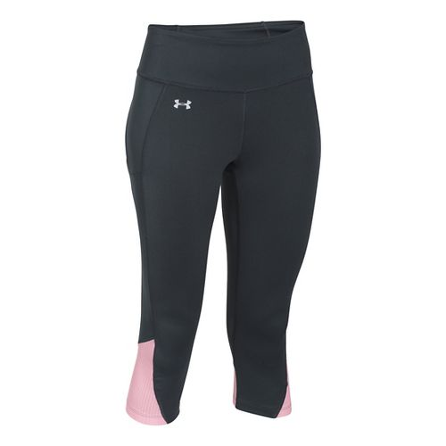 Womens Under Armour Fly by Run Capri Pants - Anthracite/Petal Pin S