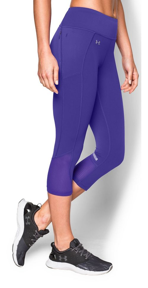 Womens Under Armour Fly by Run Capri Pants - Deep Orchid S