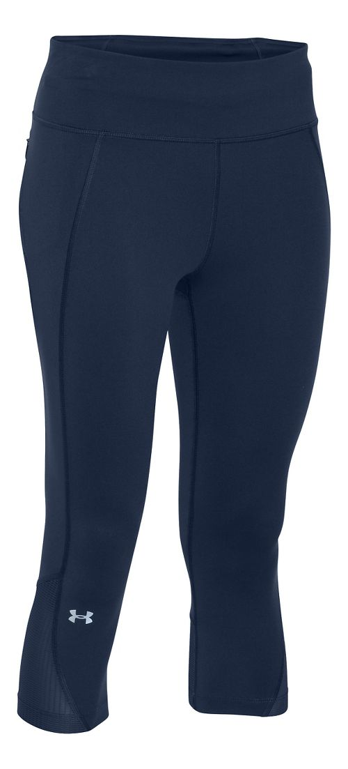 Womens Under Armour Fly by Run Capri Pants - Navy Seal M