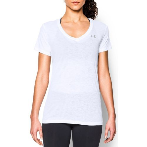Womens Under Armour Slub Tech V Neck Short Sleeve Technical Tops - White M
