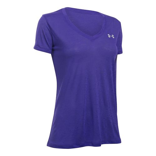 Womens Under Armour Slub Tech V Neck Short Sleeve Technical Tops - Deep Orchid M ...
