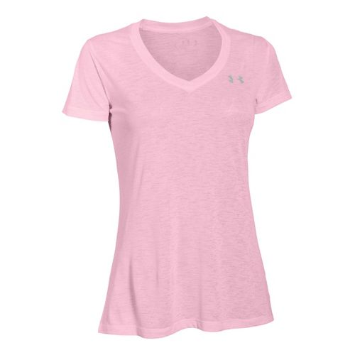 Womens Under Armour Slub Tech V Neck Short Sleeve Technical Tops - Petal Pink L ...