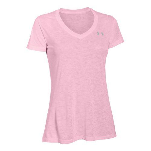 Womens Under Armour Slub Tech V Neck Short Sleeve Technical Tops - Petal Pink XL ...