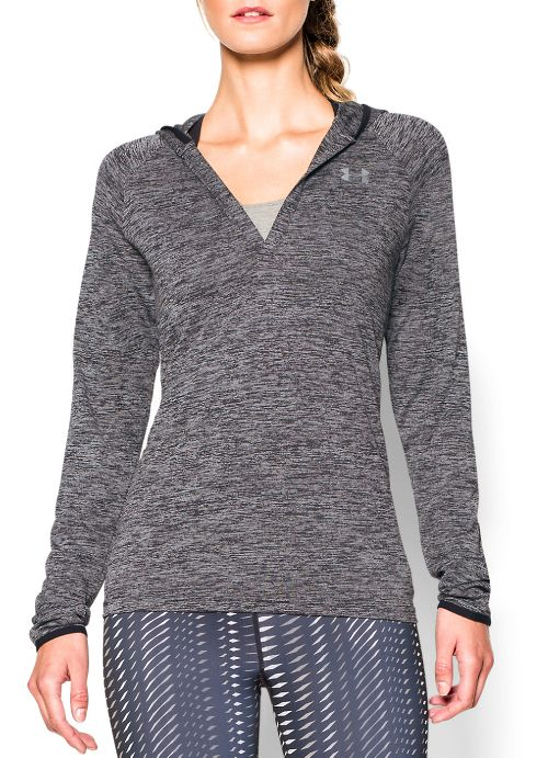 Womens Under Armour Twist Tech Long Sleeve Half-Zips & Hoodies Technical Tops - Black XS