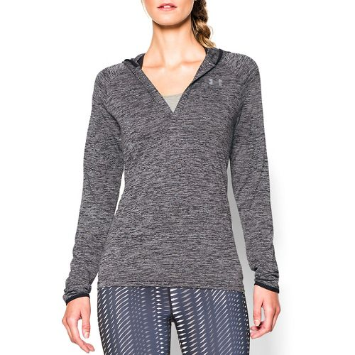 Womens Under Armour Twist Tech Hoody Long Sleeve No Zip Technical Tops - Black M ...