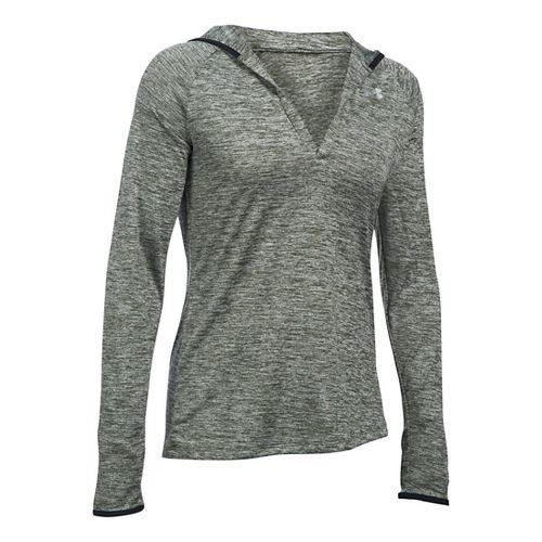Womens Under Armour Twist Tech Hoody Long Sleeve No Zip Technical Tops - Green XS ...