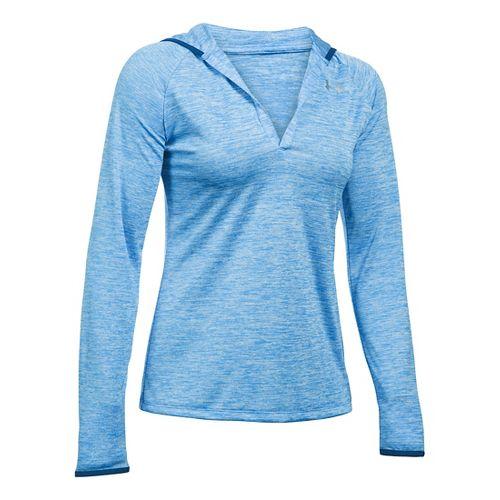 Womens Under Armour Twist Tech Hoody Long Sleeve No Zip Technical Tops - Water XS ...