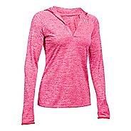 Womens Under Armour Twist Tech Long Sleeve Half-Zips & Hoodies Technical Tops - Pink Sky XL