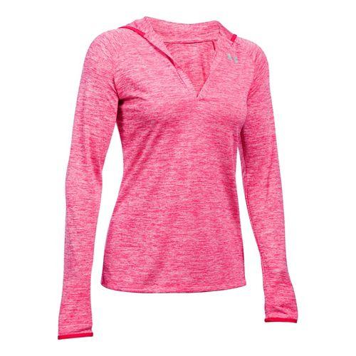Womens Under Armour Twist Tech Hoody Long Sleeve No Zip Technical Tops - Pink Sky ...