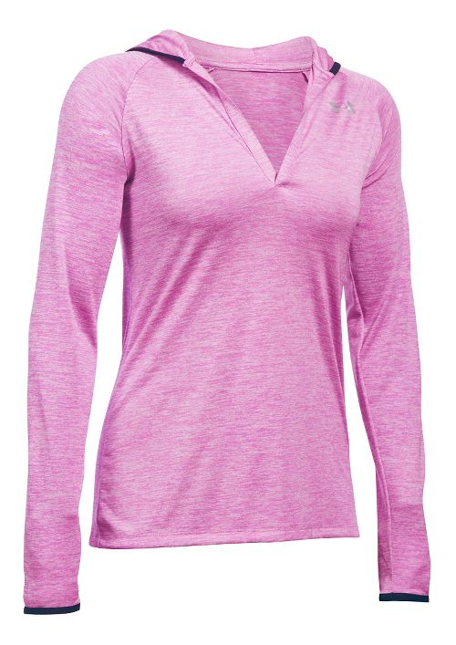 Womens Under Armour Twist Tech Long Sleeve Half-Zips & Hoodies Technical Tops - Verve Violet S
