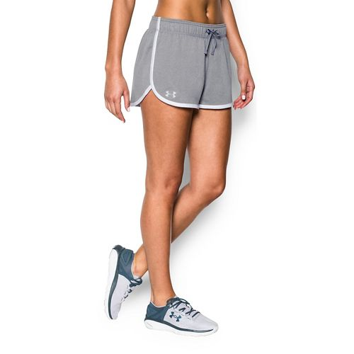 Womens Under Armour Tech Compression & Fitted Shorts - Heather/White M