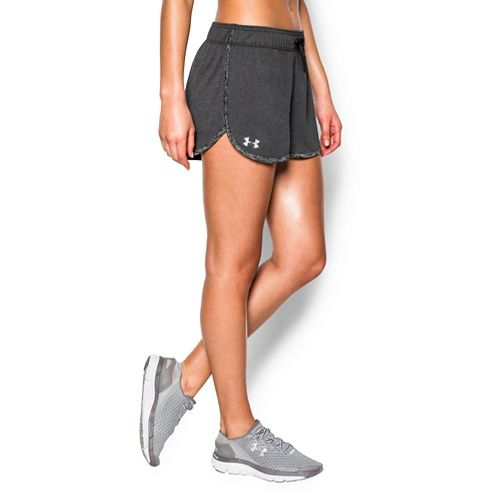 Womens Under Armour Tech Compression & Fitted Shorts - Carbon Heather Black L