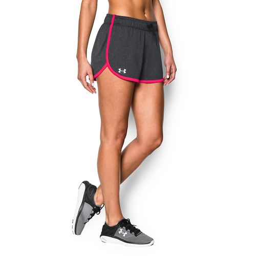 Womens Under Armour Tech Compression & Fitted Shorts - Carbon Heather Red L