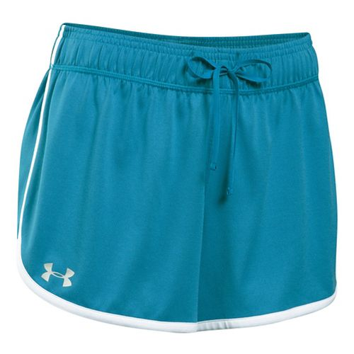 Womens Under Armour Tech Compression & Fitted Shorts - Aqua Blue/White S