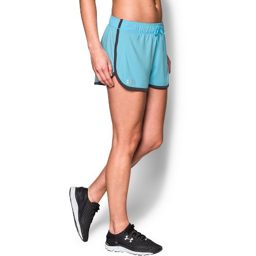 Womens Under Armour Tech Compression & Fitted Shorts - Sky Blue/Heather M