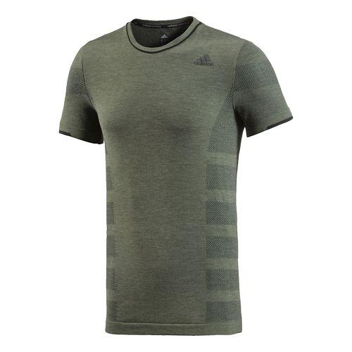 Mens adidas Adistar Wool Primeknit Tee Short Sleeve Technical Tops - Base Green XL