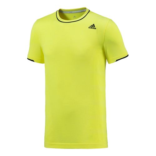 Mens adidas Adistar Wool Primeknit Tee Short Sleeve Technical Tops - Yellow M
