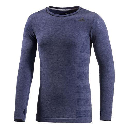 Mens adidas Adistar Wool Primeknit Tee Long Sleeve No Zip Technical Tops - Midnight Indigo ...