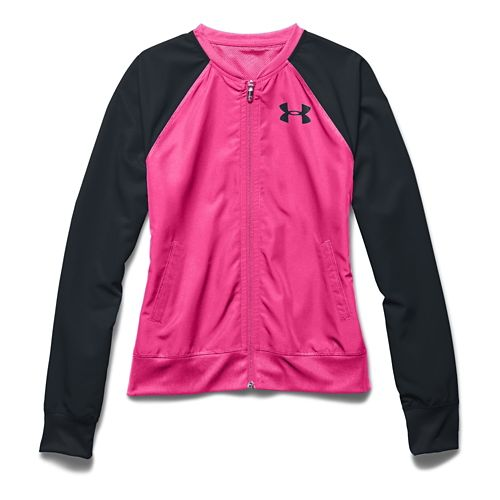 Womens Under Armour Fanatical Woven Warm Up Hooded Jackets - Rebel Pink/Black L