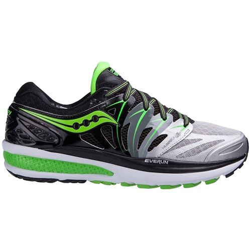 Mens Saucony Hurricane ISO 2 Running Shoe - Black/Green 12.5