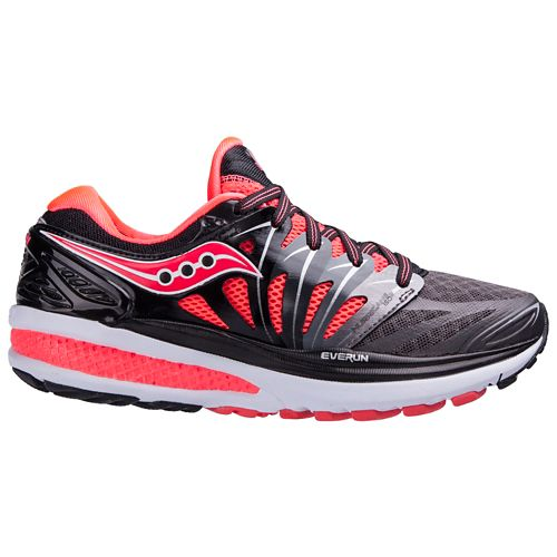 Womens Saucony Hurricane ISO 2 Running Shoe - Black/Coral 5