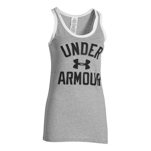 Womens Under Armour Favorite Legacy Sleeveless & Tank Technical Tops - True Grey Heather XS ...