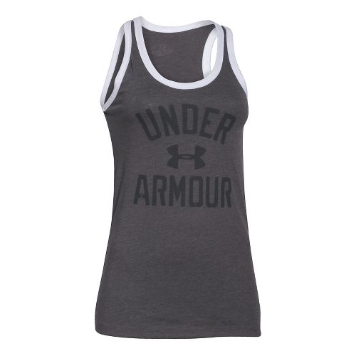 Womens Under Armour Favorite Legacy Sleeveless & Tank Technical Tops - Carbon Heather L