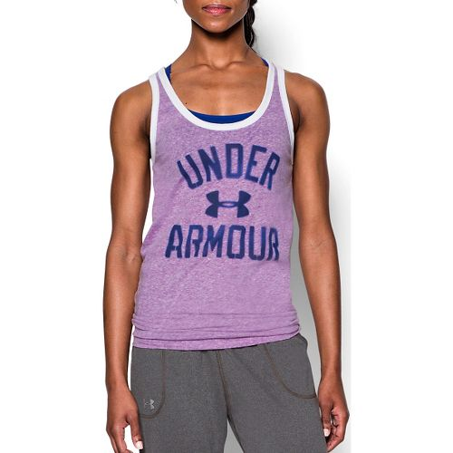 Womens Under Armour Favorite Legacy Sleeveless & Tank Technical Tops - Mega Magenta L