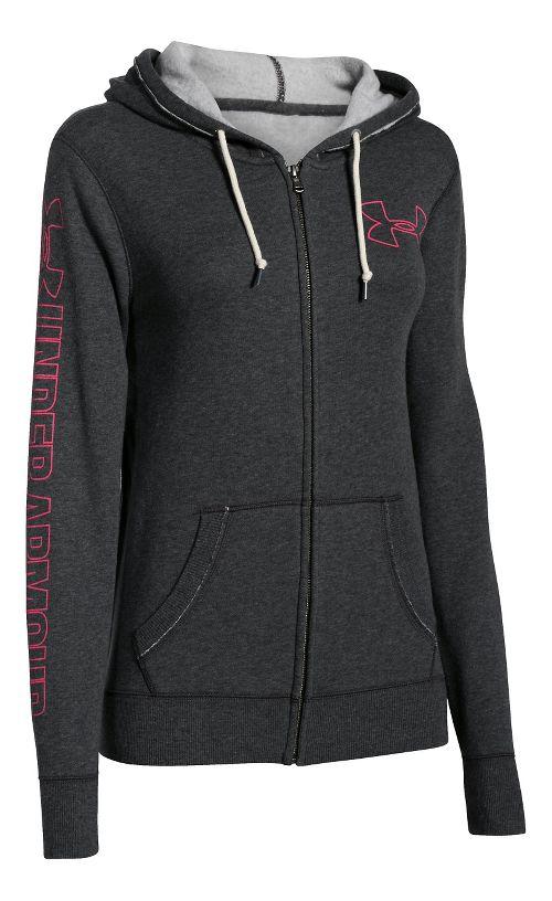 Womens Under Armour Favorite Fleece Full-Zip Hoodie & Sweatshirts Technical Tops - Carbon ...