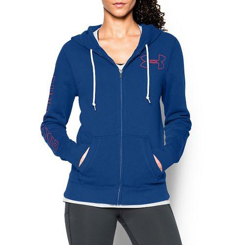 Womens Under Armour Favorite Fleece Full-Zip Hoodie & Sweatshirts Technical Tops - Cobalt S
