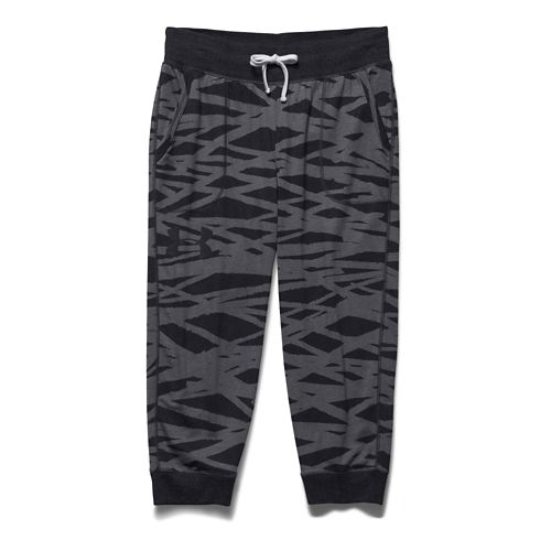 Womens Under Armour Charged Cotton Triblend Printed Capri Pants - Black/Steel XL